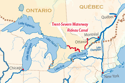 Locations of the Trent-Severn Waterway and Rideau Canal