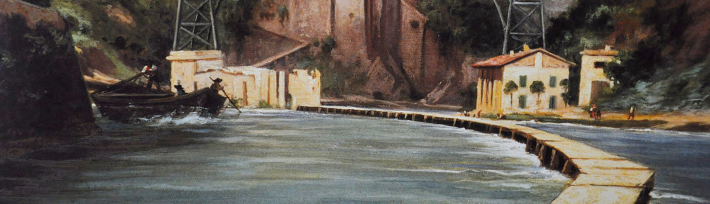 Painting of boat on the Martesana Canal