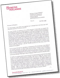 Letter from François Hollande to ECCF and CNBA