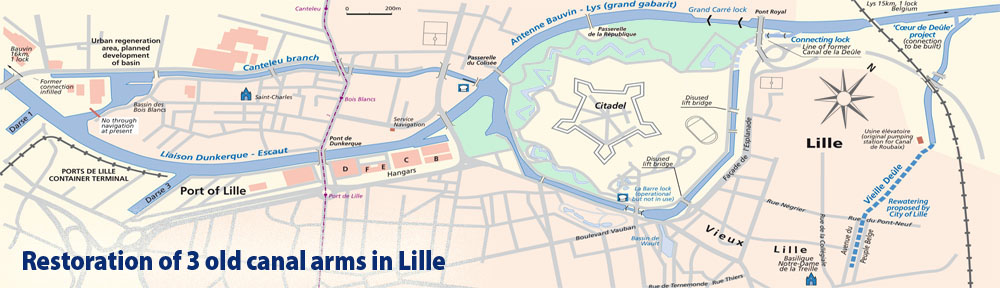 Map from Inland Waterways of France (2010) showing the old and modern routes of the river Deûle through the city