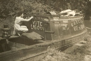 Sonia in about June 1945 drawing political slogans on the cabin of her GUCCC motor Phobos. It was her political activism that attracted her to the newly founded IWA as being able to give articulate representation for saving canal carrying and improving the lot of the working boatmen. It was through her time on the IWA committee that her relationship developed with the canal author and co-IWA founder Tom Rolt.