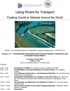 Flyer with the programme for the WWF side event on using rivers for transport